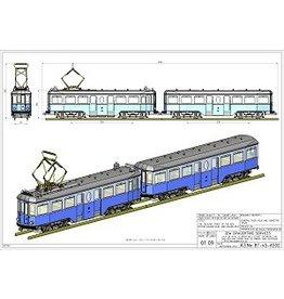 NVM 20.73.041/A NZH motorrijtuig A 502 en aanhangrijtuig B 501 (Blauwe tram) voor spoor 1