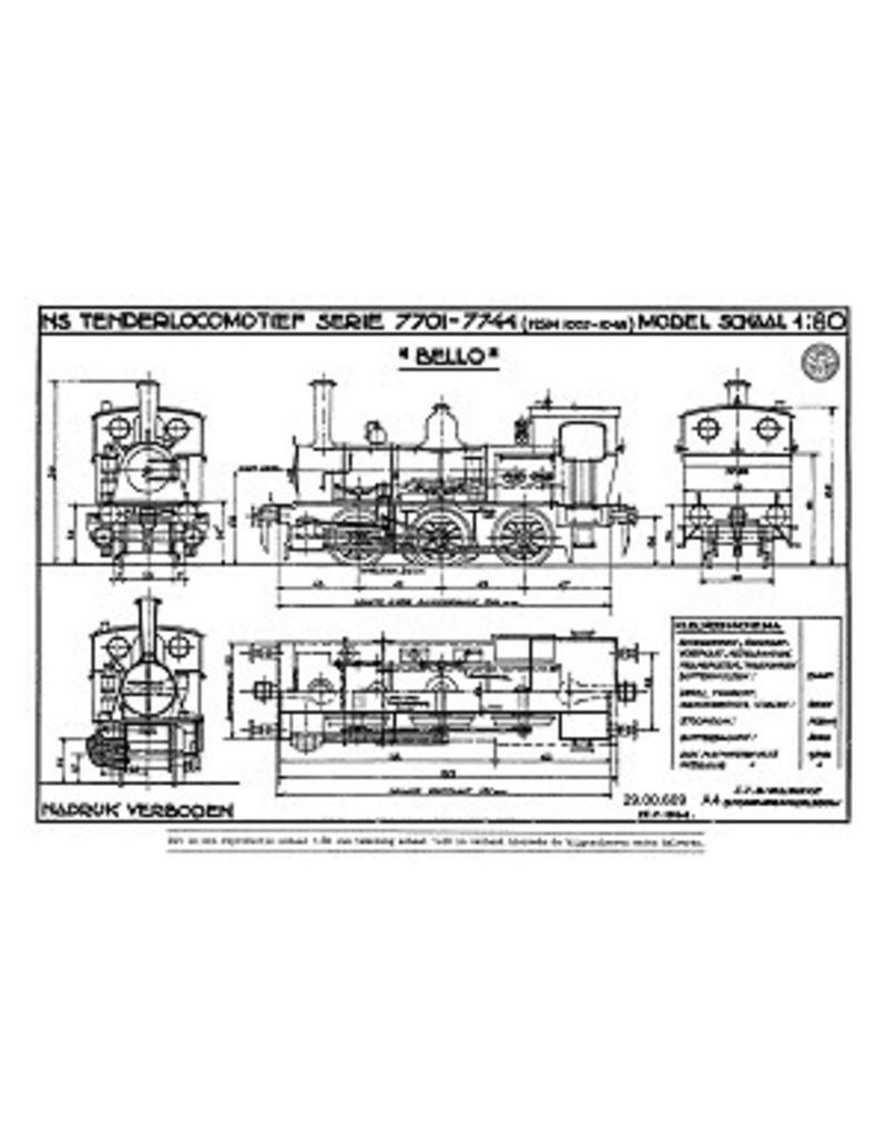 NVM 29.00.609 stoomlocomotief NS 7701 - 7744