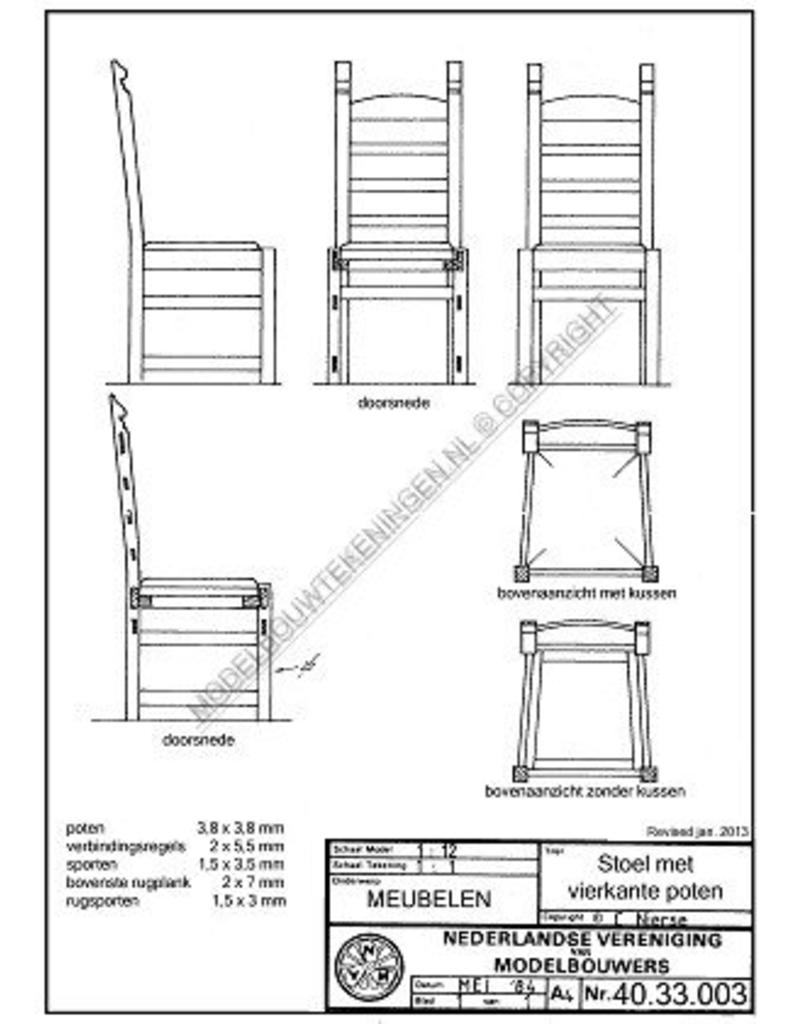 NVM 40.33.003 stoel met vierkante poten