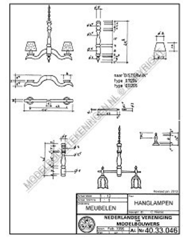 """NVM 40.33.046 twee hanglampen, naar """"Oisterwijk"""""""