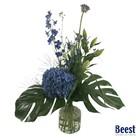 Plukboeket blauw/paars inclusief vaas
