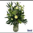 Vaasarrangement rouwbloemen wit