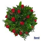 Boeket rode rozen kleinbloemig