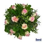 Boeket roze rozen met groen