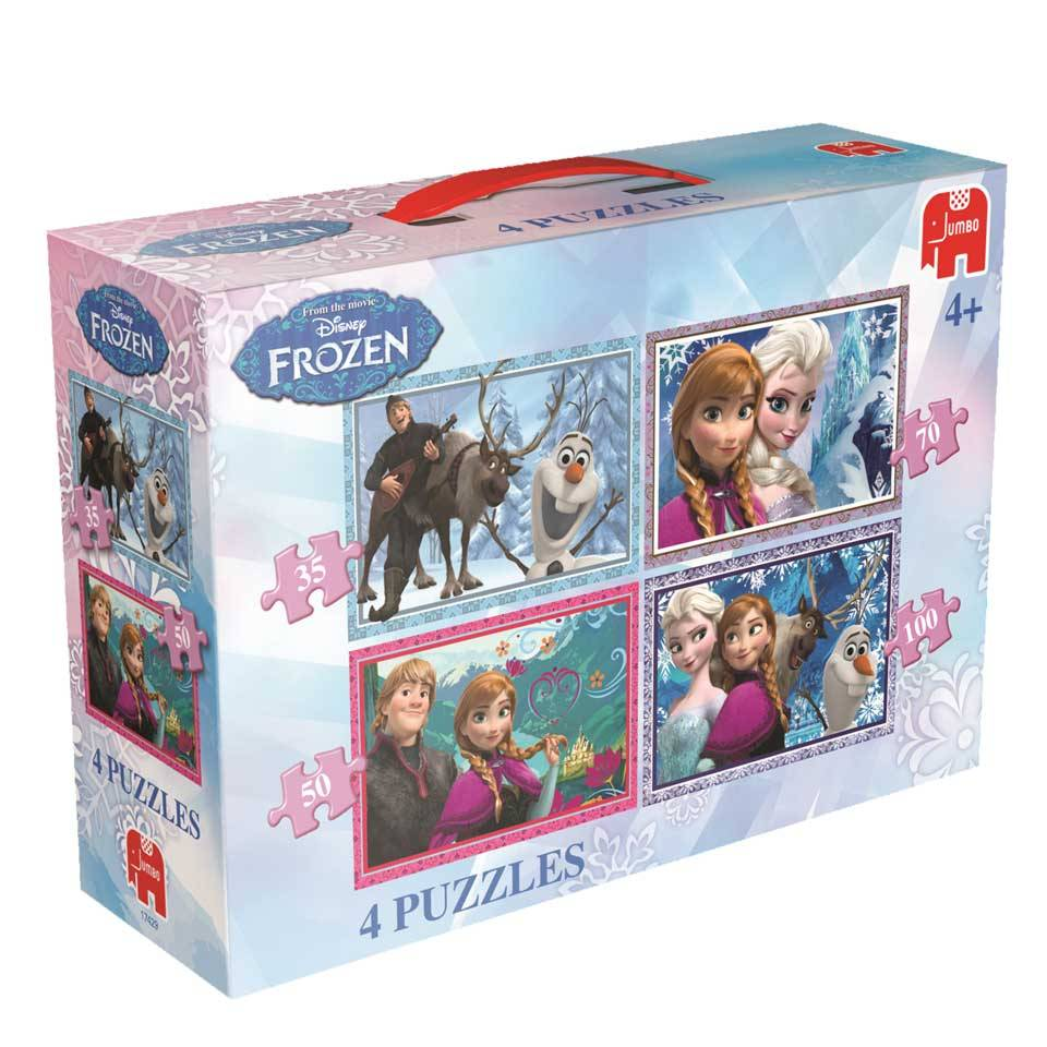 Disney Frozen Jumbo Puzzels Disney Frozen Jumbo 4 In 1 Legpuzzel 35-50-70-100 stukjes