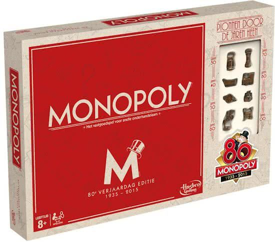 Hasbro Monopoly 80ste Verjaardag Editie Nederland Bordspel