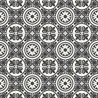 Motivteppich Mosaikfliesen Schwarzweiß