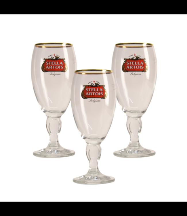 SET VAN 3   l-------l Stella Artois op voet Bierglas - 25cl (Set van 3)