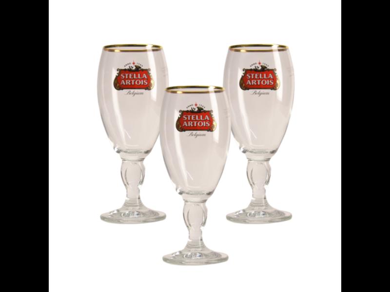 Gbol Verre a Biere Stella Artois a pied - 25cl (Lot de 3)