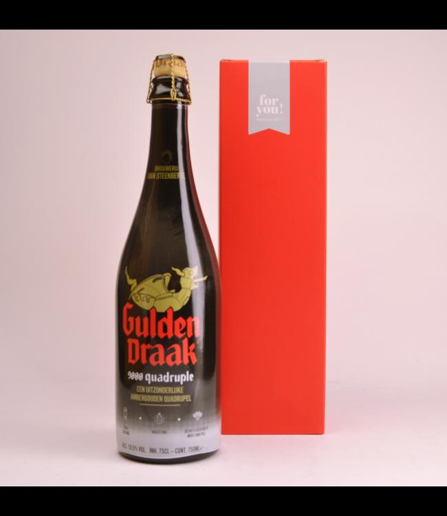 RODE KOKER l-------l Gulden Draak 9000 Quadrupel  Biergeschenk (75cl + koker)