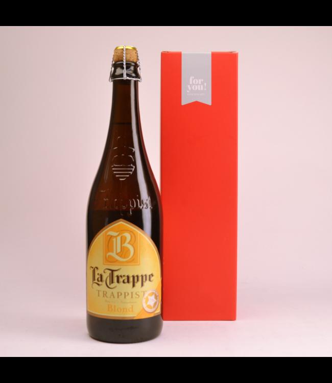 RODE KOKER l-------l La Trappe Blond Beer Gift (75cl + Cilinder)