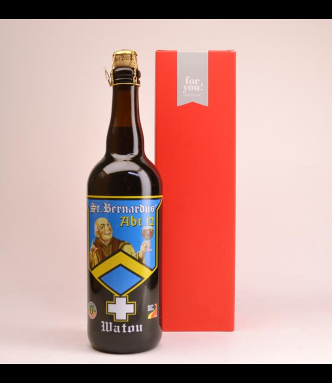 RODE KOKER l-------l St Bernardus Abt 12  Biergeschenk (75cl + koker)