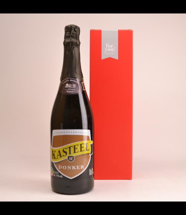 RODE KOKER l-------l Kasteelbier Donker  Biergeschenk (75cl + koker)
