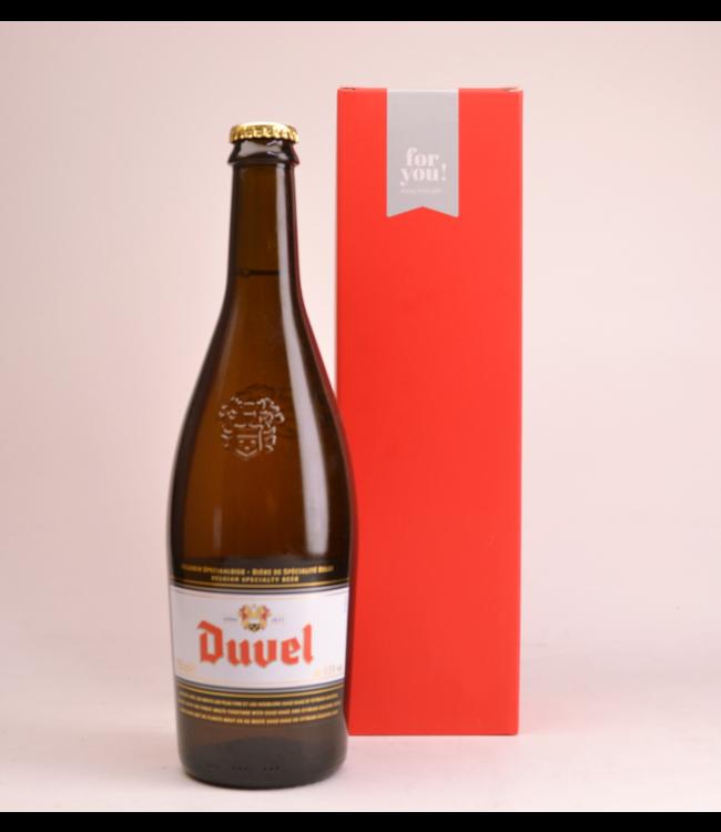 RODE KOKER l-------l Duvel  Bier Geschenke (75cl + Kocher)