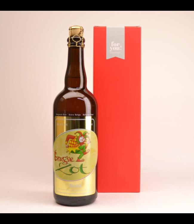RODE KOKER l-------l Brugse Zot Blond  Biergeschenk (75cl + koker)