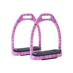 Horka Horka stijgbeugel aluminium met roze strepen 10 cm