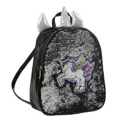 Misspony Blauwe rugzak Unicorn met wrijf pailletten