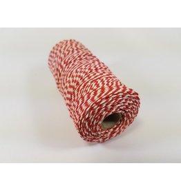 Macramé touw rood-wit