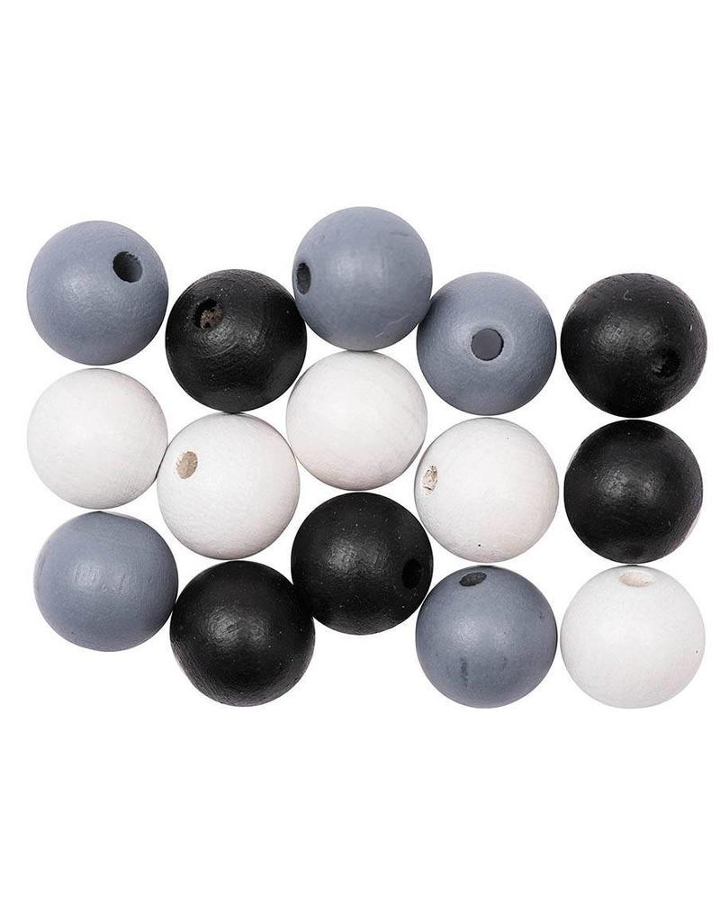Rico Houten kralen mix zwart/wit/grijs