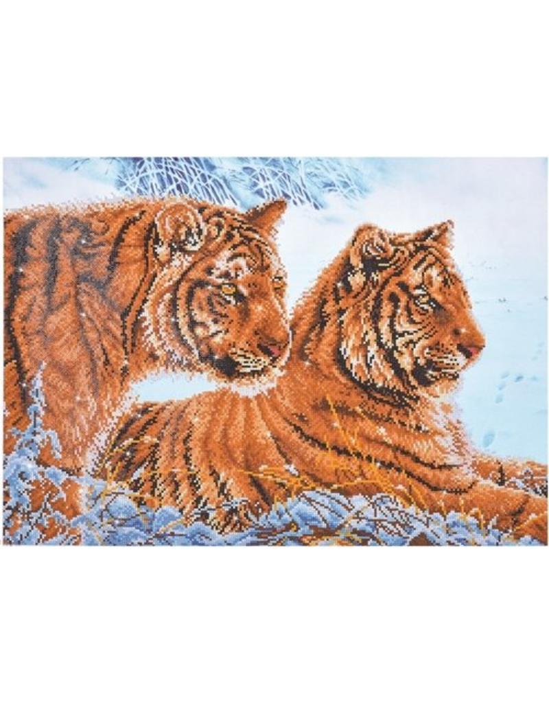 Diamond Dotz Diamond Painting pakket Tigers in the snow