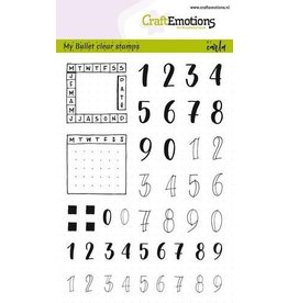 CraftEmotions Clear stempel Bullet journal - numbers 10 mm + planner