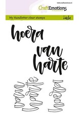 CraftEmotions  Clear stempel Handletter-Hoera van harte
