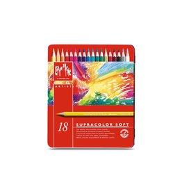 Caran d'Ache Aquarel kunstenaar kleurpotloden Supracolor Soft - set 18 stuks