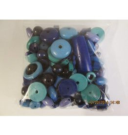 Houten kralen blauw