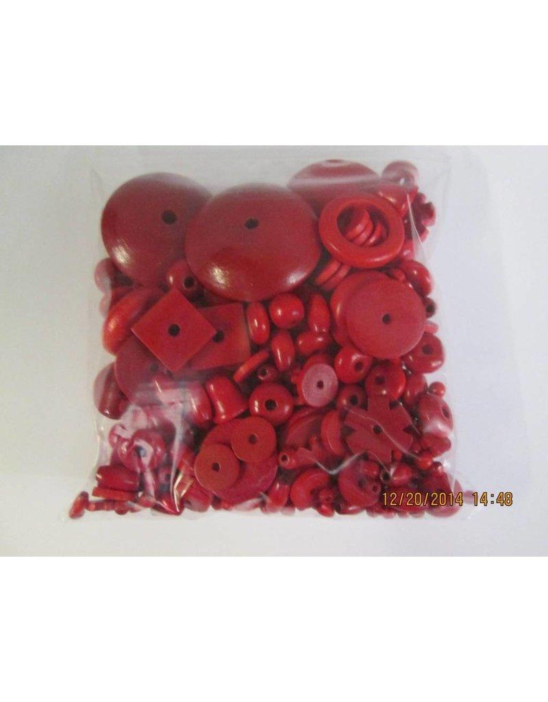 Houten kralen rood