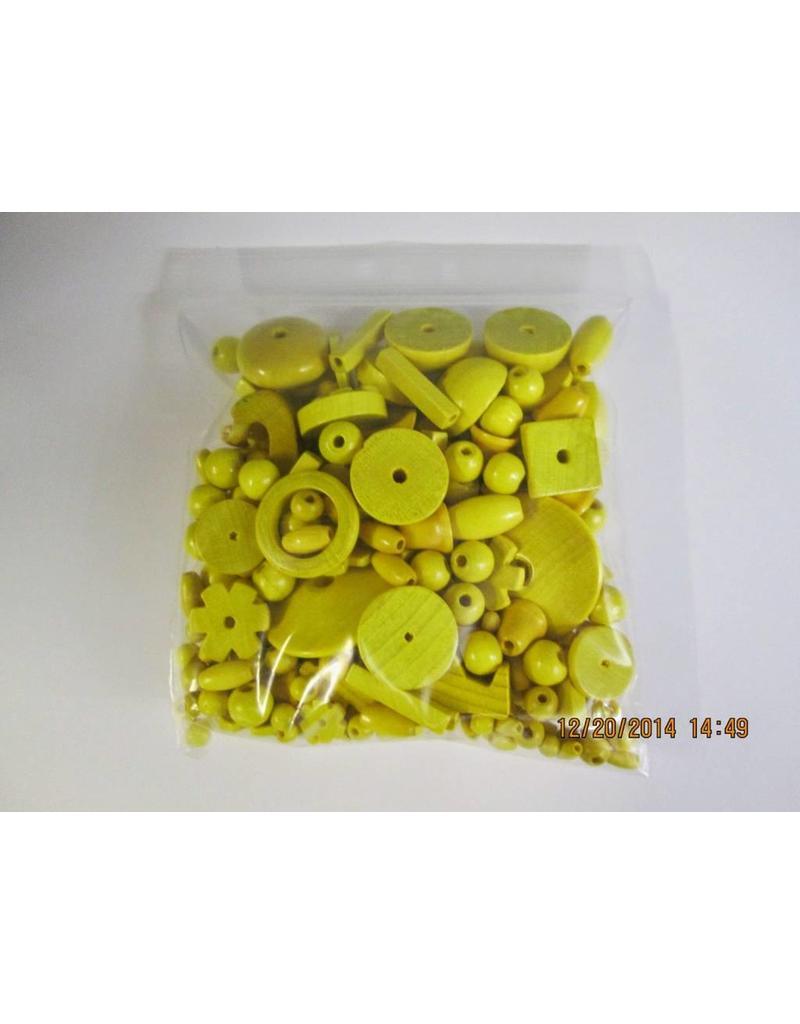 Houten kralen geel