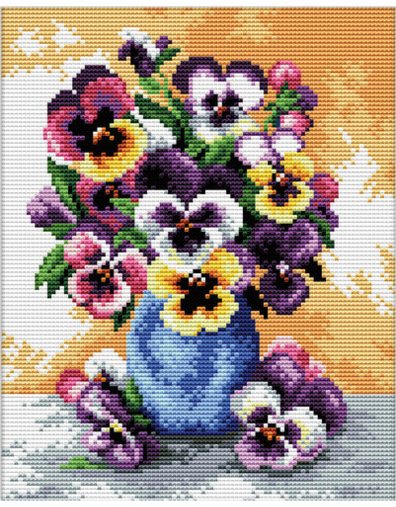 Needleart World Borduurpakket Vase of Pansies