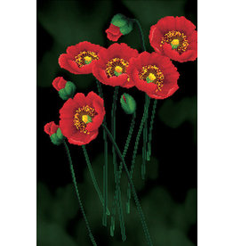 Needleart World Borduurpakket  Red Poppies on black