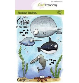 CraftEmotions Clear stempel  - ocean 1