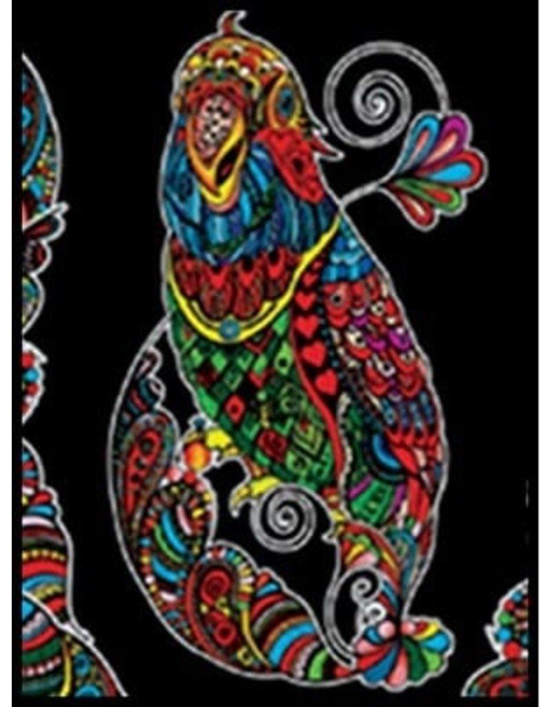 Painting Velvet Colorvelvet kleurplaat Papegaai