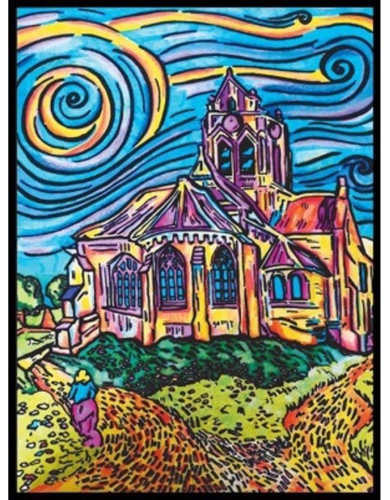Painting Velvet Colorvelvet kleurplaat Kerk van Auvers - VAN GOGH