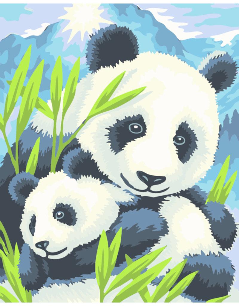 Schilderen op nummer Panda met jong