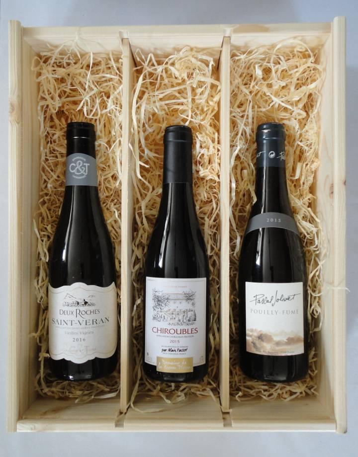 Houten kist voor 3 flesjes wijn