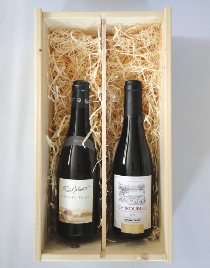 Houten kist voor 2 flesjes wijn