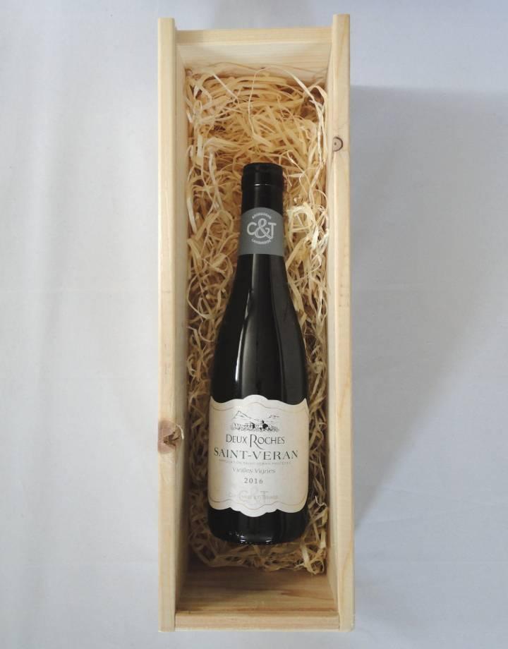 Houten kist voor 1 flesje wijn