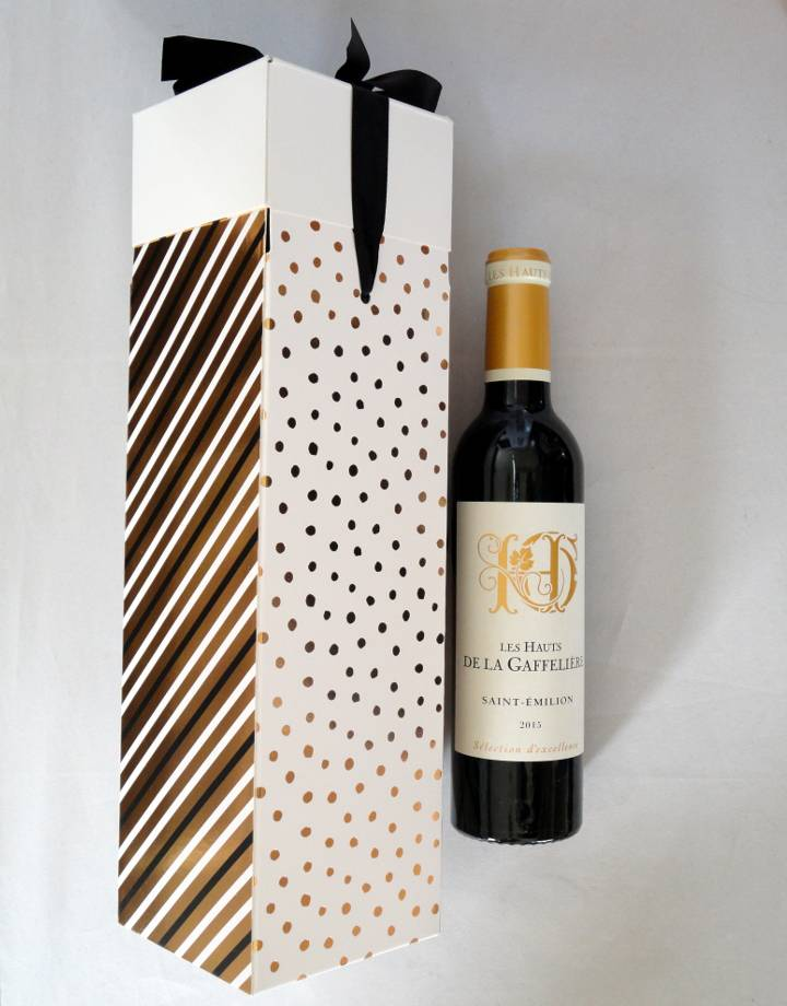 Doosje Feestdagen met strik voor 1 flesje wijn