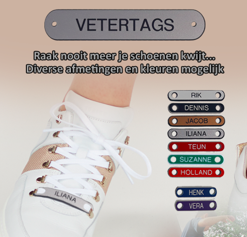 Veter Tag - WIT/ROOD - 40mm