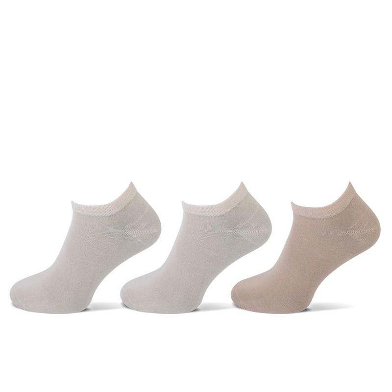 Teckel Teckel Sneakersokken - 3 paar - beige