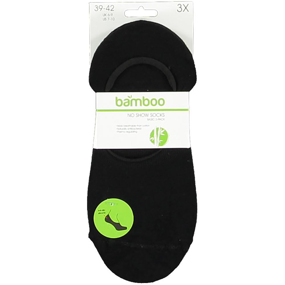 APOLLO Bamboo No-Show sneakersok - badstof zool - zwart