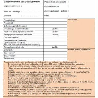 Aanvraagformulier sperma onderzoek Vasectomie en Vaso-vasectomie