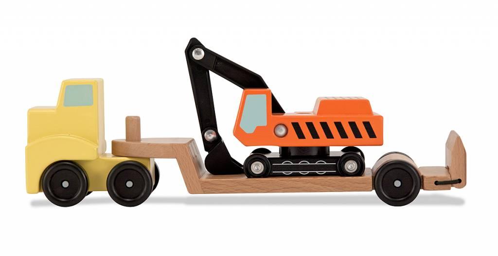 Melissa & Doug Vrachtwagen met dieplader en graafmachine