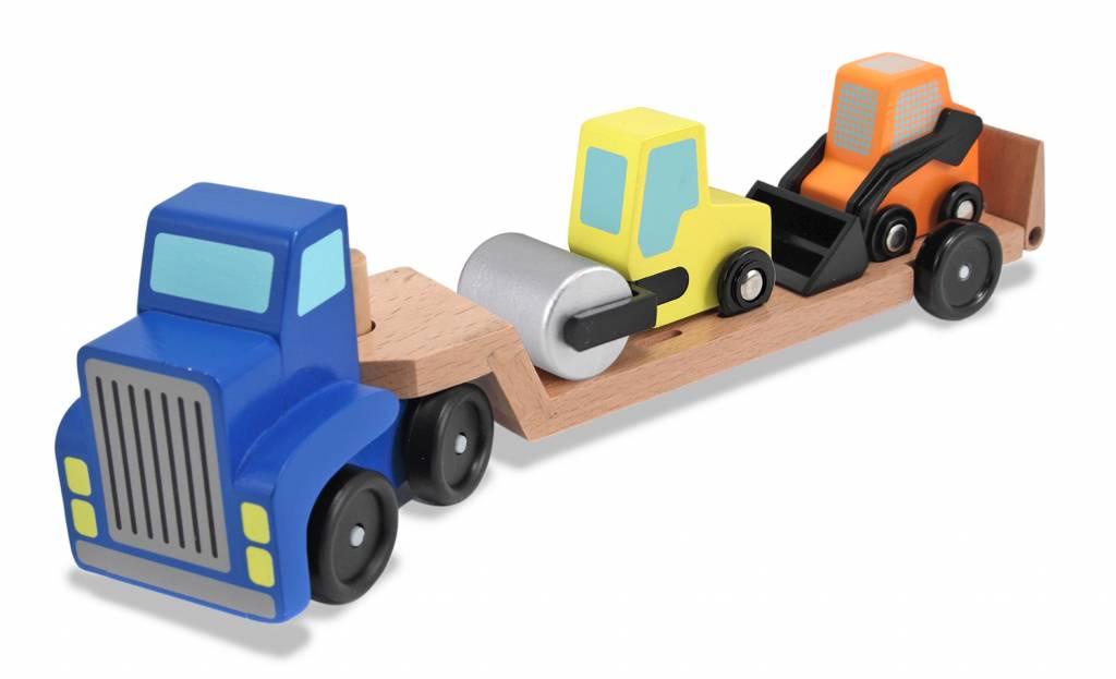 Melissa & Doug Vrachtwagen met dieplader inclusief shovel en wals