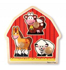 Melissa & Doug Boerderij dieren grote knoppen puzzel klein