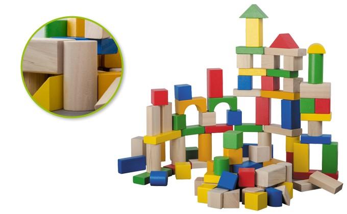 Jouéco Gekleurde houten blokken (100 stuks)