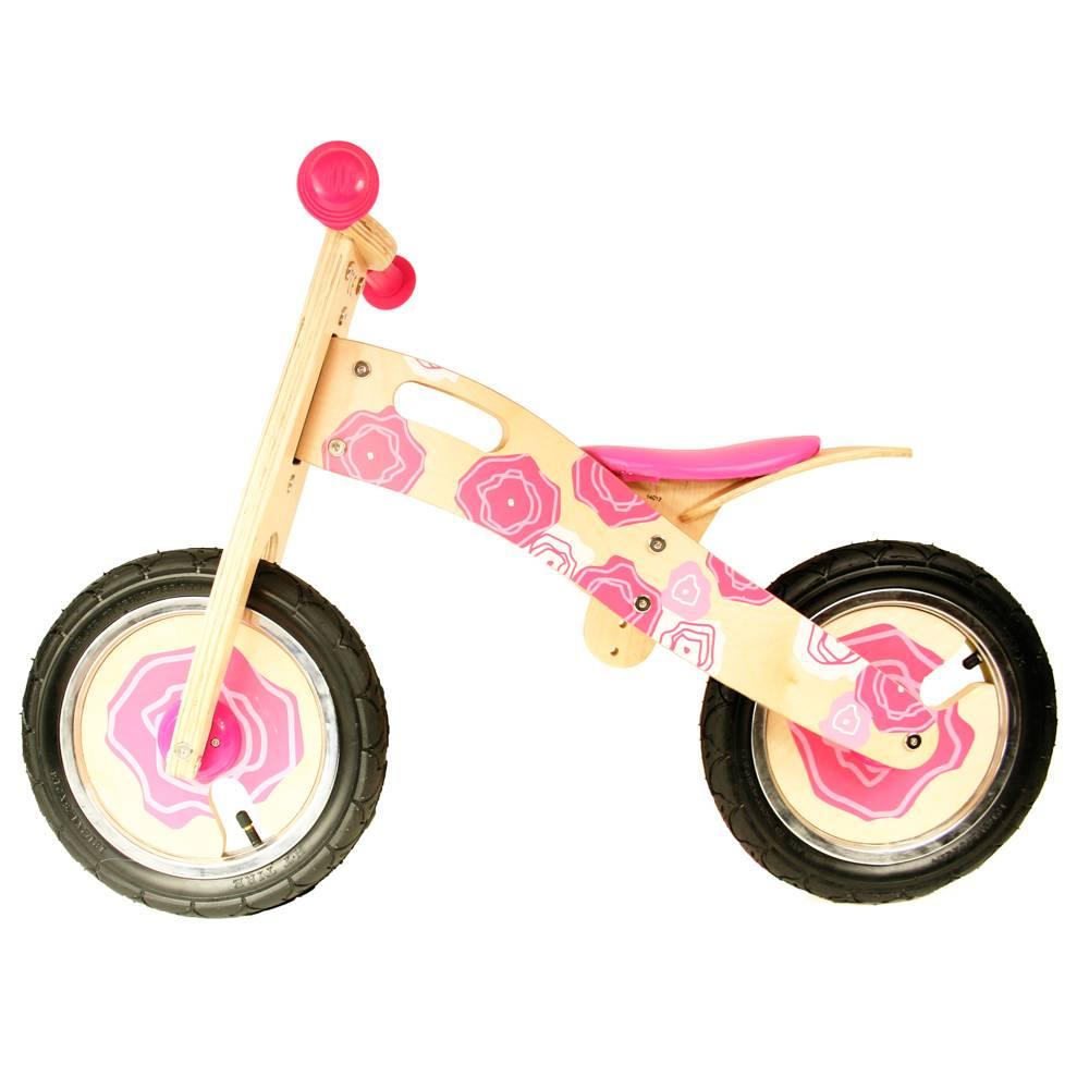 Simply for Kids Loopfiets hout roze bloemen