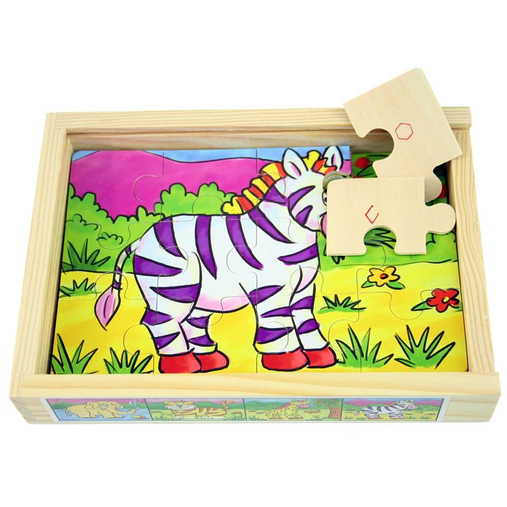 4x Puzzel wilde dieren